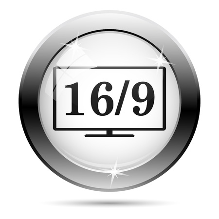 16 9 display: Metallic 169 icon with black design on white glass background