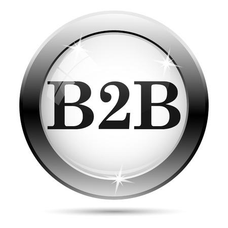 Metallic B2B icon with black design on white glass background Stock Photo - 21063011
