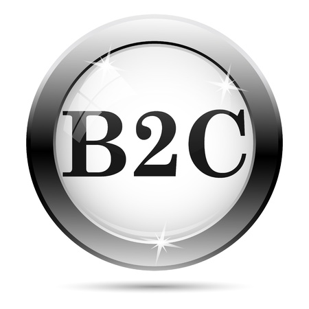 Metallic B2C icon with black design on white glass background Stock Photo - 21062995