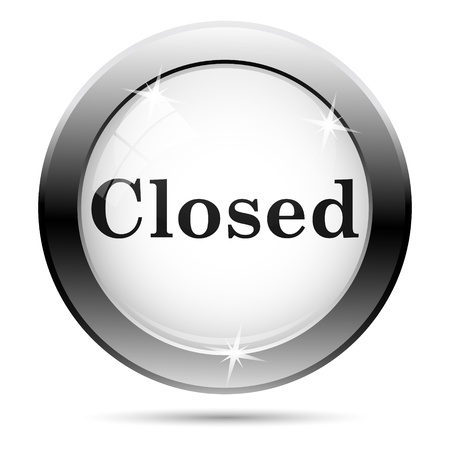 Metallic closed icon with black design on white glass background photo