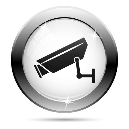 白いガラスの背景に黒いデザインをもつ金属の CCTV のアイコン 写真素材
