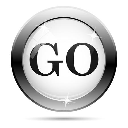 Metallic go icon with black design on white glass background Stock Photo - 21062788