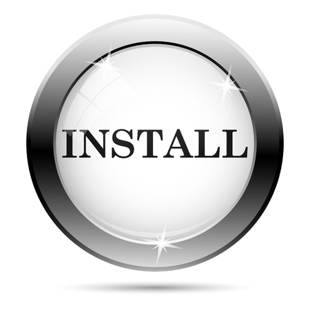 Metallic install icon with black design on white glass background Stock Photo - 21062789