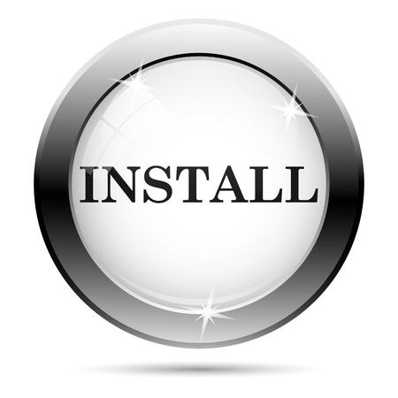 Metallic install icon with black design on white glass background Stock Photo - 21062789