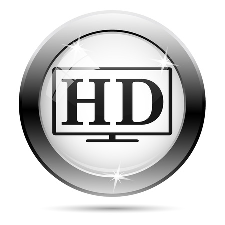Metallic HD icon with black design on white glass background Stock Photo - 21062793