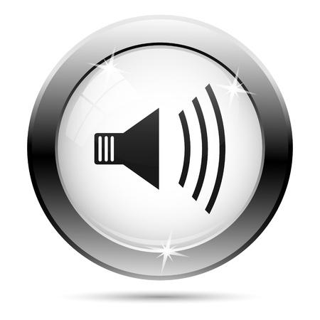오디오: 흰색 유리 배경에 검은 색 디자인을 가진 금속 아이콘