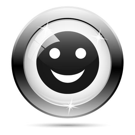 Metallic icon with black design on white glass background Stock Photo