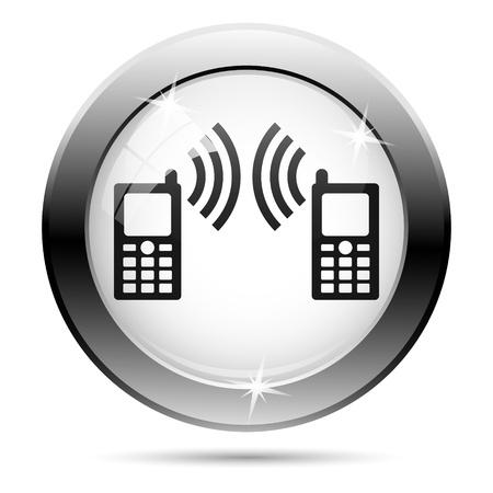 palmtop: Metallic icon with black design on white glass background Stock Photo