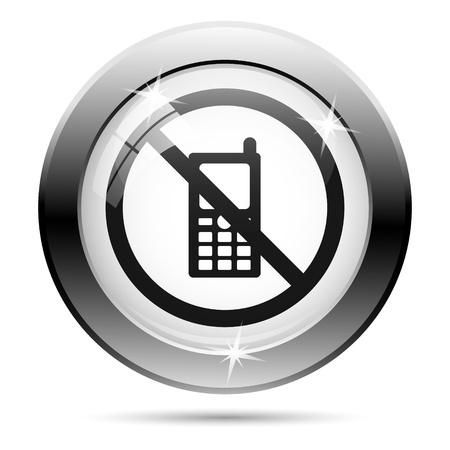 refrain: Metallic icon with black design on white glass background Stock Photo