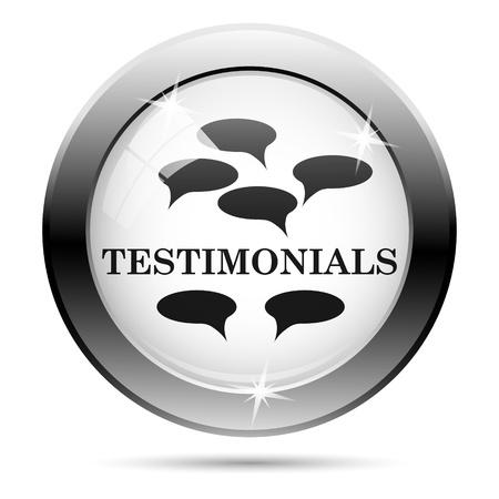 testimony: Metallic icon with black design on white glass background Stock Photo