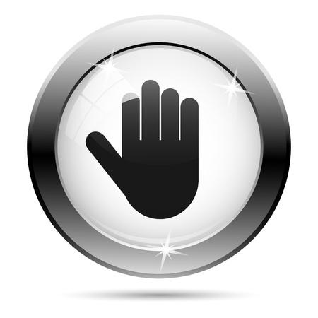 permission: Metallic icon with black design on white glass background Stock Photo
