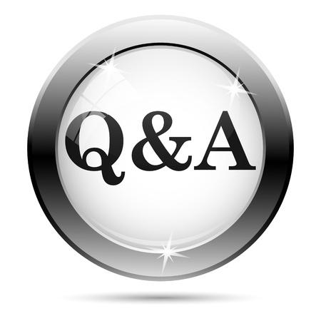 qa: Metallic icon with black design on white glass background Stock Photo
