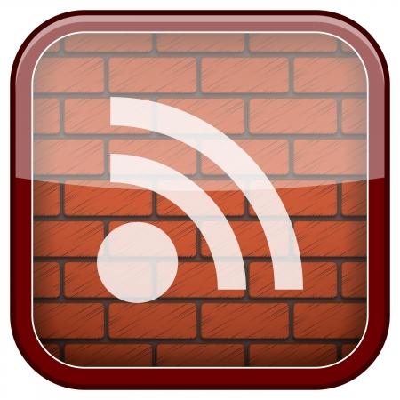 Square shiny icon with white design on bricks wall background Stock Photo - 21176676