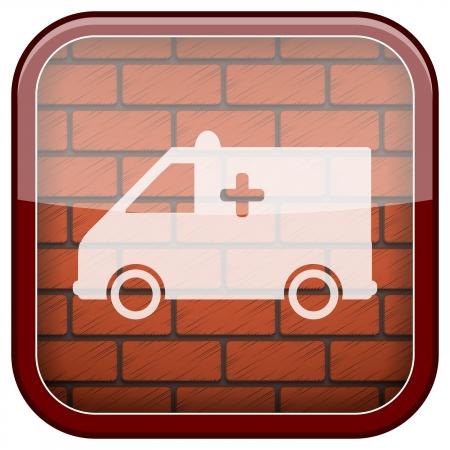 Square shiny icon with white design on bricks wall background Stock Photo - 21176695