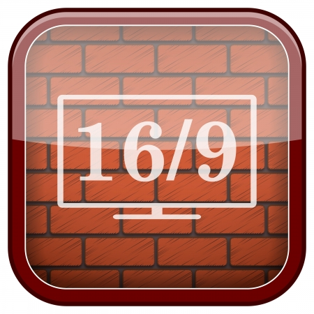 16 9 display: Square shiny icon with white design on bricks wall background