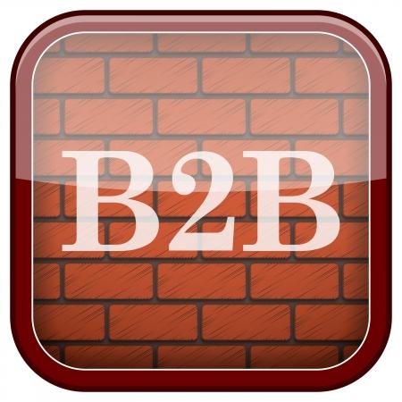 Square shiny icon with white design on bricks wall background Stock Photo - 21176722