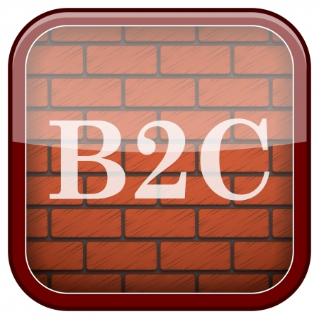 Square shiny icon with white design on bricks wall background Stock Photo - 21176723