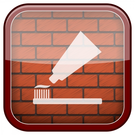 Square shiny icon with white design on bricks wall background photo