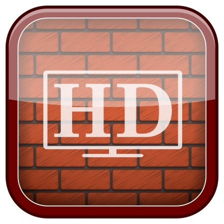 Square shiny icon with white design on bricks wall background Stock Photo - 21176825