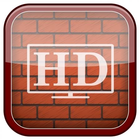 Square shiny icon with white design on bricks wall background Stock Photo - 21176825