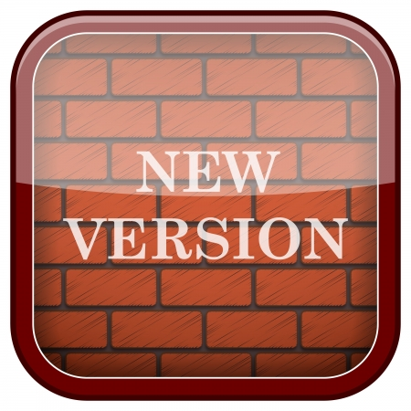 Square shiny icon with white design on bricks wall background Stock Photo - 21176830