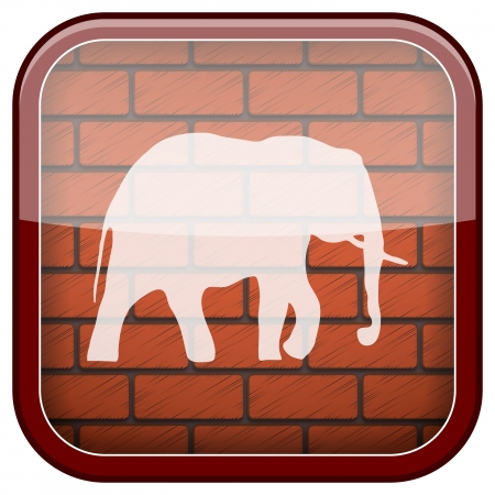 endanger: Square shiny icon with white design on bricks wall background