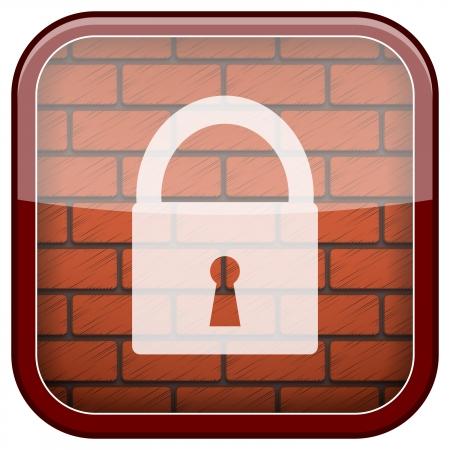 Square shiny icon with white design on bricks wall background Stock Photo - 21176947