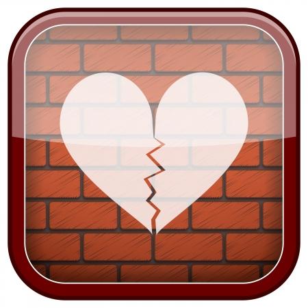 heartbreak: Square shiny icon with white design on bricks wall background