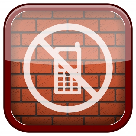 use regulations: Square shiny icon with white design on bricks wall background