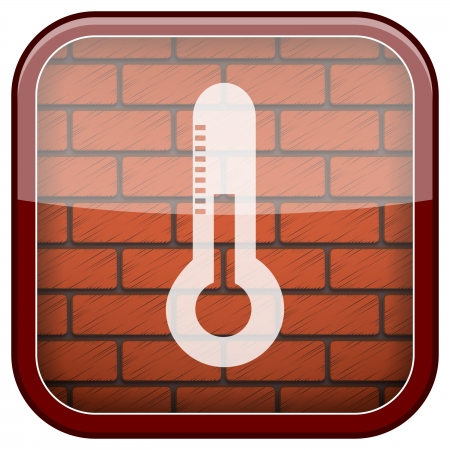 growth hot: Square shiny icon with white design on bricks wall background