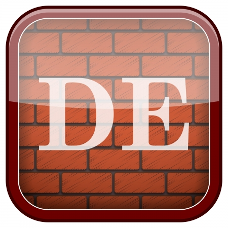 Square shiny icon with white design on bricks wall background Stock Photo - 21177007