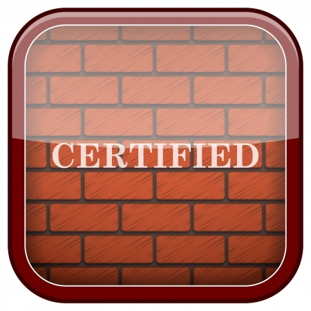 endorsed: Square shiny icon with white design on bricks wall background