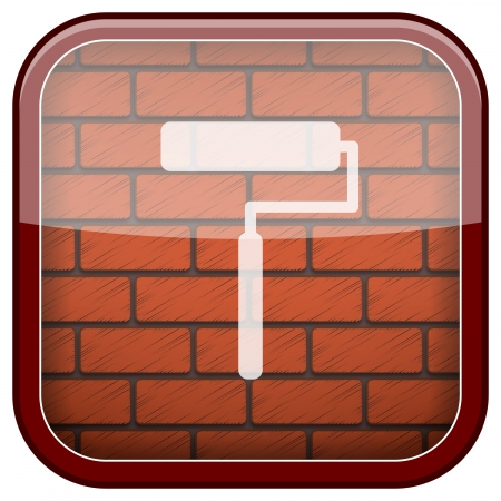 coating: Square shiny icon with white design on bricks wall background