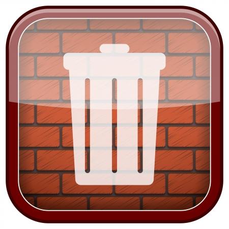 Square shiny icon with white design on bricks wall background photo
