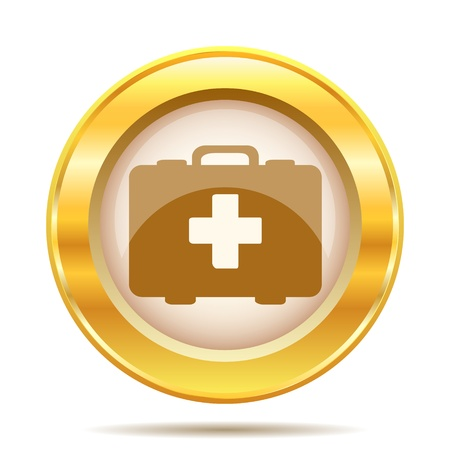 first aid kit key: Round glossy icon with brown design on gold background Stock Photo