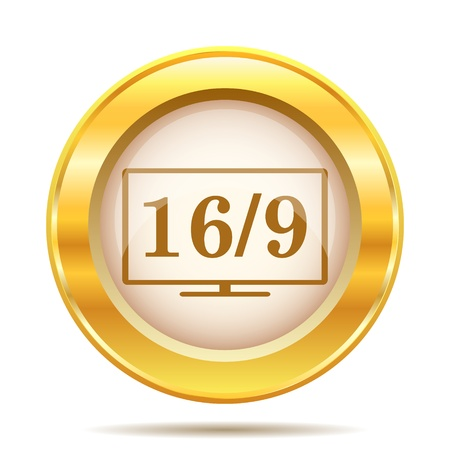 golden ratio: Round glossy icon with brown design on gold background Stock Photo