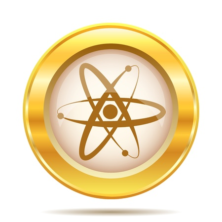 Round glossy icon with brown design on gold background Stock Photo - 21237749