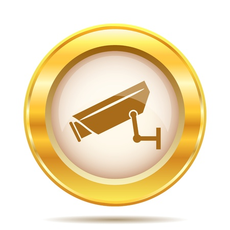 Round glossy icon with brown design on gold background Stock Photo - 21237783