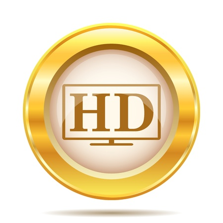 Round glossy icon with brown design on gold background Stock Photo - 21237807
