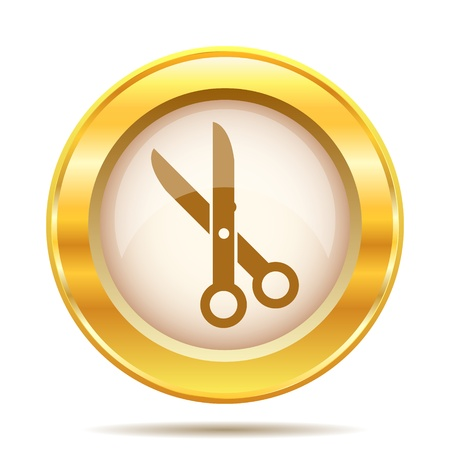 golden hair: Round glossy icon with brown design on gold background Stock Photo
