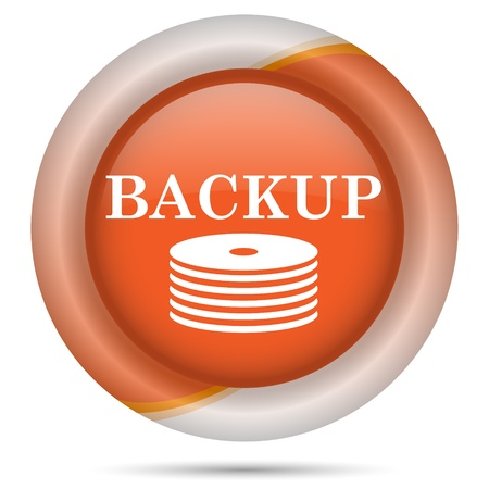 data archiving: Glossy icon with white design on orange plastic background
