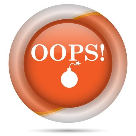 オレンジ色のプラスチックの背景に白のデザインと光沢のあるアイコン 写真素材