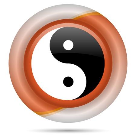 yan: Glossy icon with black and white design on orange plastic background Stock Photo