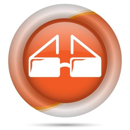 ocular: Glossy icon with white design on orange plastic background