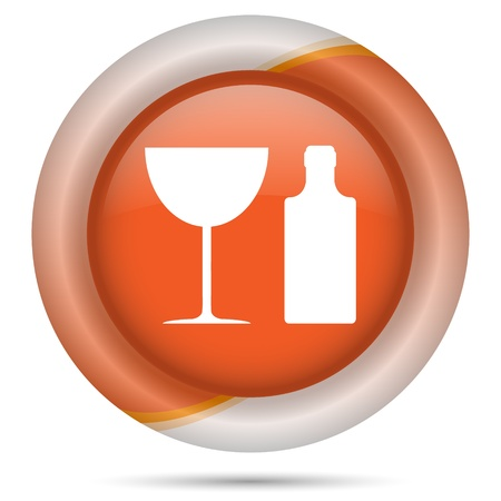 vermouth: Glossy icon with white design on orange plastic background