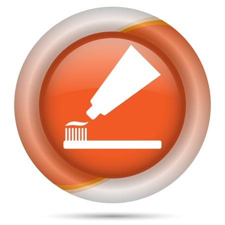 fluoride toothpaste: Glossy icon with white design on orange plastic background