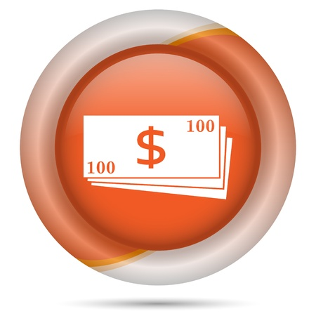 Glossy icon with white design on orange plastic background photo