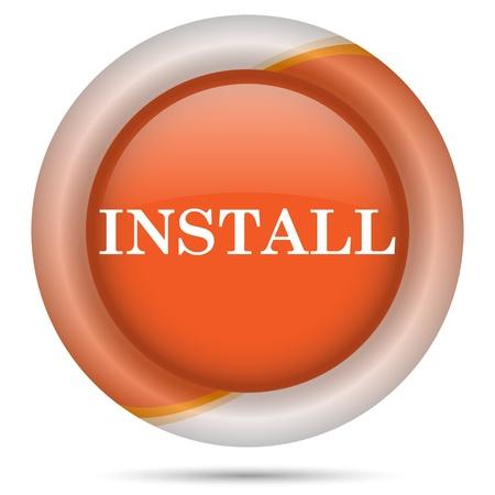 operative: Glossy icon with white design on orange plastic background