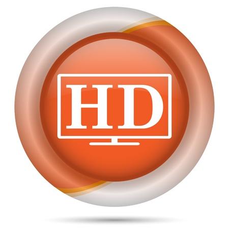 Glossy icon with white design on orange plastic background Stock Photo - 21300342