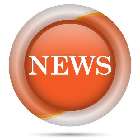 Glossy icon with white design on orange plastic background Stock Photo - 21300384